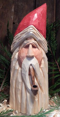 Carved Santa Head with Carved Pipe - Woodworking Statue Simple Wood Carving, Dremel Wood Carving, Wood Carving Art, Wood Art, Wood Carvings, Chainsaw Carvings, Woodworking Ideas To Sell, Woodworking Box, Woodworking Projects