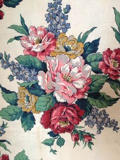 6yd Vintage Romantic Shabby Cottage Chic Floral Roses Barkcloth ERA Linen Fabric | eBay
