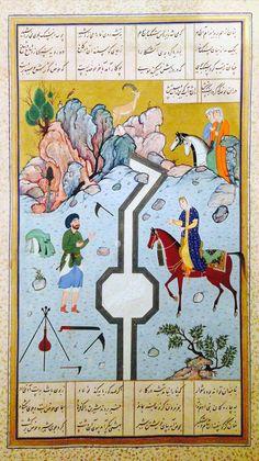 Afghan miniature, c.1524 Farhad Carves a Milk Channel for Shirin