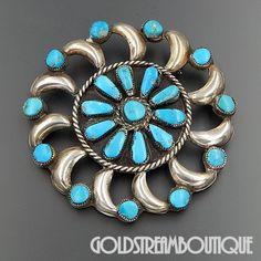 Native American Vintage Zuni Navajo Sterling Silver Turquoise Pinwheel Large…