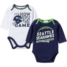 Infant College Navy/White Seattle Seahawks 2-Pack Game Day Long Sleeve Bodysuit Set