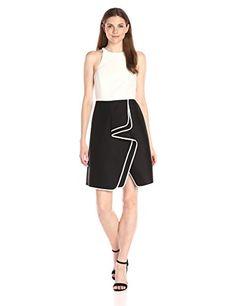 HALSTON HERITAGE Women's Sleeveless High Neck Structurd Dress with Flounce Skirt, Black/Chalk, 12