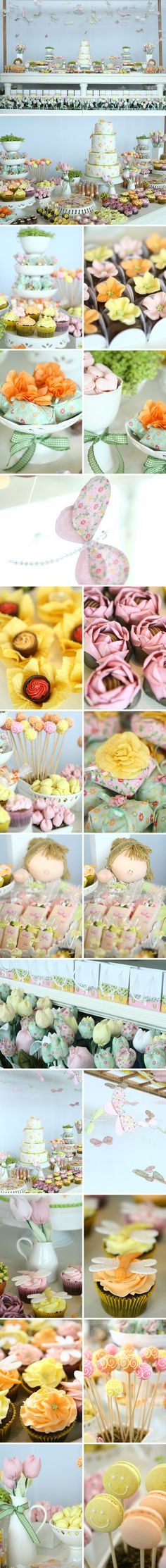 Voando entre as cores | Festejar é preciso!                                                                                                                                                                                 Mais Fiesta Party, Party Co, Party Time, Tea Party Birthday, Girl First Birthday, Adult Party Themes, Spring Party, Dessert Buffet, Party Desserts