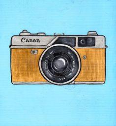 Vintage Camera Drawing | Vintage Canon Camera Original Folk Art Painting by KilkennycatArt
