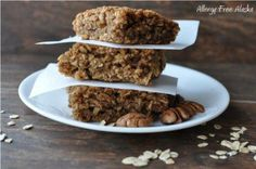 My youngest is drooling over these Oatmeal Breakfast Bars. I would use a flax or chia egg or my Powdered Egg Substitute and a lower carb sweetener.  Post has a lot more allergy-free tips and Recipes! Mmmmmm….