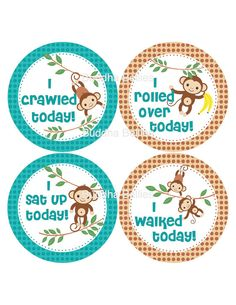 Milestone Stickers for Baby Boy - Monkeys - Safari - Made to Match Your Monthly Onesie Stickers - Month to Month Stickers
