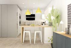meubles de droite peints en gris avec dessus bois. Suspensions jaunes Tabourets tolix