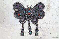 Vintage Mexican Taxco Sterling Silver Butterfly Pendant / Brooch