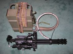 Minigun - a mm, multi-barrel heavy machine gun with the high rate of fire to 6000 rounds per minute). This is Freaking Awesome but ill need to get a mortgage to buy and then turn around and rob that bank to pay for ammo! Weapons Guns, Military Weapons, Guns And Ammo, Big Guns, Cool Guns, Rifles, Airsoft, Zombies, Heavy Machine Gun