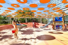 Indigo Playgrounds / Apart from a creative donut-like shade canopy, this playground incorporates smart techniques to keep children safe and cool. >> Click on the image to see the full project at www.shapedscape.com Your NEW Landscape Architecture Platform <<