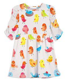 Loving this Sunshine Swing White & Pink Bird Shift Dress - Toddler & Girls on #zulily! #zulilyfinds