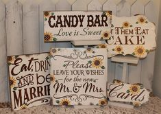 Sunflower Wedding Sign Set/Sunflower/Fall/Photo Prop/Great Shower Gift/Rustic/Beach/Vineyard/Woodland by gingerbreadromantic on Etsy https://www.etsy.com/listing/222440269/sunflower-wedding-sign