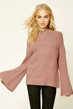 Forever 21 Contemporary - An oversized brushed knit sweater featuring a mock neckline and long bell sleeves.