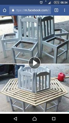 DIY Recycled Chair Around Tree Bench Instruction-- Ways to Repurpose Old Chairs DIY Ideas DIY Repurposed Chair Craft Ideas Projects [Picture Instructions]: Salvage Old Chairs into New Furniture for Home Decoration, Organization and Garden Uses. Furniture Projects, Furniture Makeover, Wood Projects, Diy Furniture, Outdoor Furniture Sets, Outdoor Decor, Furniture Design, Reupholster Furniture, Furniture Websites