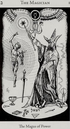 Magician from the Hermetic Tarot - this tarot deck has wonderful symbols and i love the black and white too
