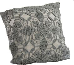 Pure linen decorative pillow with beautiful hand-crochet detail. Decorative pillow with feather-down insert.,Violet shadow, Area Inc, violet, Pillow Crochet Home, Love Crochet, Beautiful Crochet, Crochet Yarn, Hand Crochet, Handmade Pillows, Decorative Pillows, Crochet Cushions, Crochet Pillow