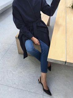 Kitten heel sling-backs and jeans
