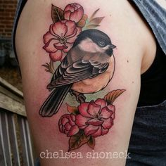 Adorable birdie with flowers