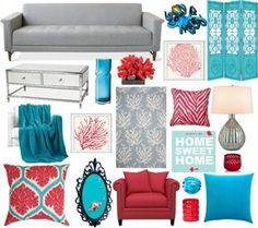 Accesorios en tonos turquesa y coral para un salón en blanco y gris