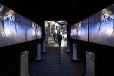 Petits projecteurs en façade / Frame - What's the matter? Museum Art Gallery, Museum Displays, Architecture Magazines, Science Museum, Signage, Facade, Interior Design, Milan Design, Exhibit