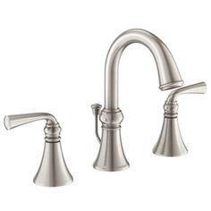 Moen Wetherly Spot Resist Brushed Nickel 2-Handle Widespread Watersense Labeled Bathroom Sink Faucet Drain Included