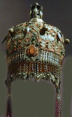 Early Turkoman headdress of old style one rarely sees today with all the fakes and made up ones in collections. 19th c (archives sold Singkiang)