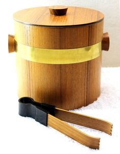 Wooden Ice Bucket with Matching Ice Tongs - Saito Nippon - 33% off Birthday Sale