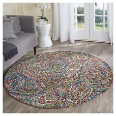Multicolor Abstract Tufted Round Accent Rug - (4' Round) - Safavieh,