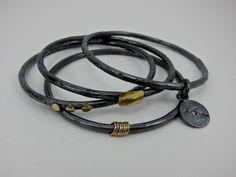 sterling silver and diamond bracelet with18k by aatelierandrea