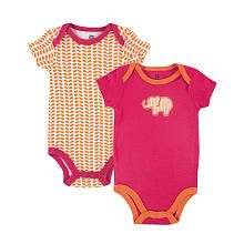 Yoga Sprout Girls 2 Pack Pink/Orange Elephant Applique Bodysuit and Printed Bodysuit