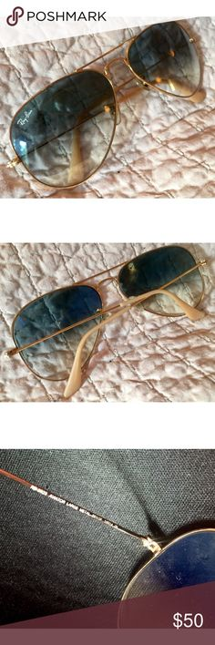 Blue n' Beige Ray-Ban Aviators These unique, light colored Ray-Ban Aviators are lightweight and easy to wear. They are not too big and not too small, and I️m great condition. Will be shipped with original case and lens cloth. Ray-Ban Accessories Sunglasses