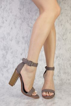 Grey Buckle Detailing Open Toe Single Sole Chunky High Heels Suede