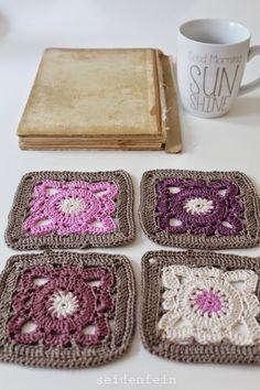seidenfeins Blog vom schönen Landleben: gehäkelt ... Blümchen - Untersetzer * DIY * crocheted flower coasters