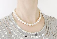 16 Inch Hand Knotted Pearl Necklace 16 Inch by FauxShowPearls