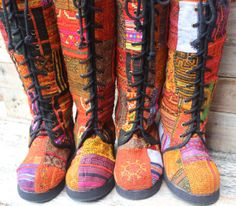 Womens Boho Boots In Colorful Vintage Ethnic by SiameseDreamDesign, $74.00