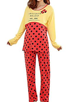 MIAMAMA Women's Maternity Soft and Comfortable Nursing Pajama Freedom Dots Set , Blue Yellow Medium Maternity Sleepwear, Nursing Pajamas, Blue Yellow, Freedom, Pajama Pants, Dots, Jumpsuit, Red, Dresses