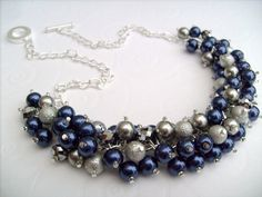 Hey, I found this really awesome Etsy listing at https://www.etsy.com/listing/130436501/pearl-beaded-necklace-navy-blue-silver
