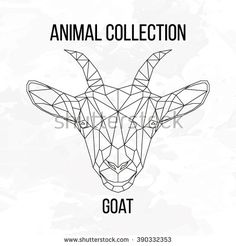 Goat head geometric lines silhouette isolated on white background vintage vector design element illustration