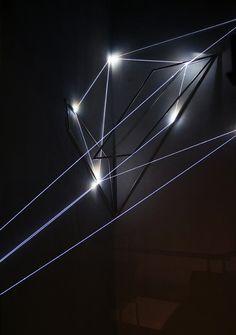 Carlo Bernardini, The Corner's Revenge  2011; optic fibres, stainless steele (part.) mt h 18x3x4. MACRO Museo d'Arte Contemporanea di Roma.