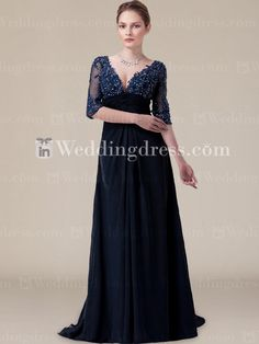 Modern Chiffon  Empire V-Neck Bride Mother Dress with Sheer Sleeves MO147N