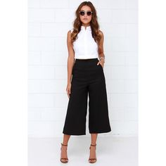 Had to Be You Black Culottes (155 BRL) ❤ liked on Polyvore featuring shorts, black, black culottes, midi shorts, black woven shorts, lulu shorts and culottes shorts