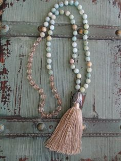 Knotted tassel necklace 'Duster in Sand ' earthy by slashKnots