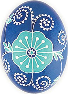 Pretty blue Pysanka: This flower design stems from ancient Ukrainian patterns. Blue represents the sky, good health, and truth! Beautiful work of art via Ukrainian Gift Shop