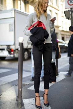 black skinnies and a sweatshirt, dressed up with heels. super cute