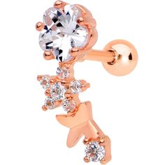 Clear Gem Rose Gold Tone Anodized Cascade Right Cartilage Earring