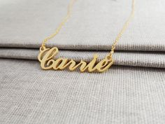 Carrie Name Necklace,Personalized Name Necklace, Gold Name Necklace,Custom Celebrity Necklace,Sex and The City Necklace,Christmas Gift