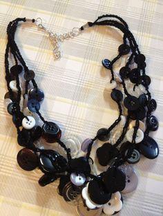 Black & White Button Necklace via Etsy