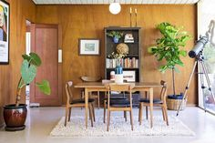 Hope and Pete's Bohemian Modern Abode. Gorgeous Mid-Century Modern vintage furniture, big leafy plants and a telescope!