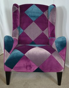 Patchwork Wing Back Vintage Style Chair - Plum / Teal / Silver - TOP BRAND CP126. WANT WANT WANT
