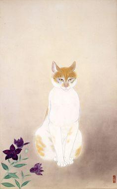 Kobayashi Kokei (Japan, - Cat, 1946 - Yamatane Museum of Art. Illustrations, Illustration Art, Maurice Careme, Asian Cat, Oriental Cat, Japanese Cat, Street Art, Japanese Painting, Japanese Prints